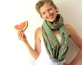 Green Circle Scarf - Watermelon - Infinity Scarf - Loop Scarf - Eternity Scarf - Summer Fashion