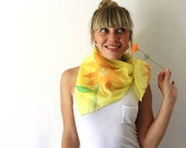 Yellow Silk Scarf - Sunflowers- Hand Painted Silk Scarf - Spring Fashion -Bright Yellow Scarf - Autumn - Mothers Day Gift