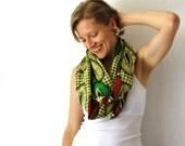 African Circle Scarf - Red Green and Yellow - Rasta Infinity Scarf - Loop Scarf - Eternity Scarf -Tanzania Fabric