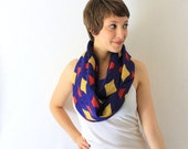 African Circle Scarf - Blue Red and Yellow - African Infinity Scarf - Loop Scarf - Eternity Scarf -Tanzania Fabric -Fall Fashion
