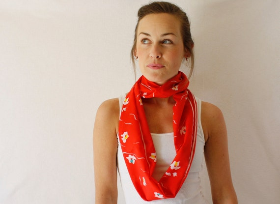 Up-cycled Red Circle Scarf - Flowers Scarf - Spring Fashion - Infinity Scarf - Loop Scarf