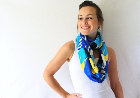 Up-cycled Blue Circle Scarf -  Hawaiian scarf - Flowers- Yellow - Spring Fashion - Blue Infinity Scarf- Loop Scarf,