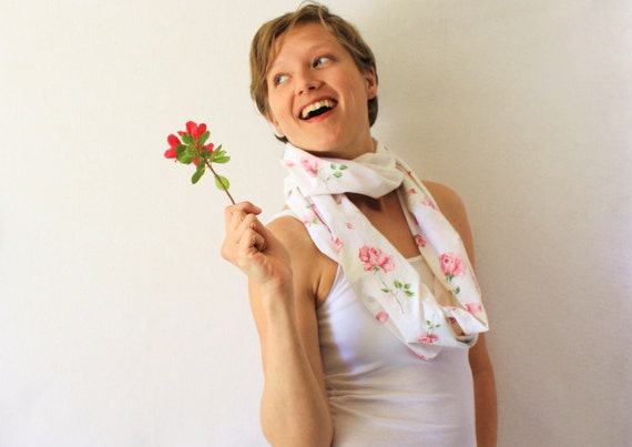 Circle Scarf- Upcycled,  Roses, Pink, White, Spring Fashion, Infinity Scarf, Loop Scarf,
