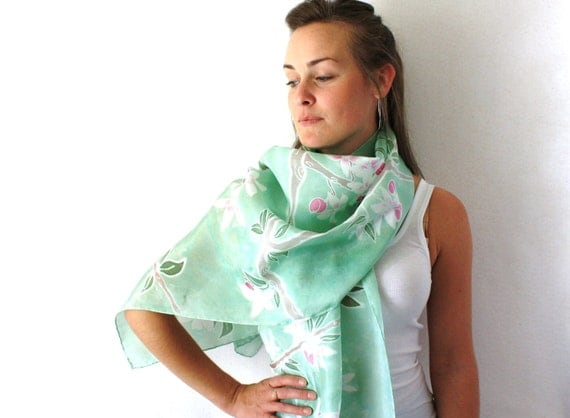 Mint Green Silk Scarf - Apple Blossoms - Hand Painted Silk Scarf - Spring Fashion