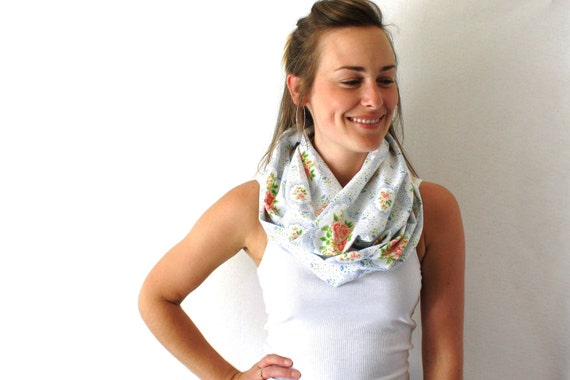 Up-cycled Floral Circle Scarf - White with Pink Roses - Perfect Summer Fashion Accessory - Floral Infinity Scarf - Loop Scarf