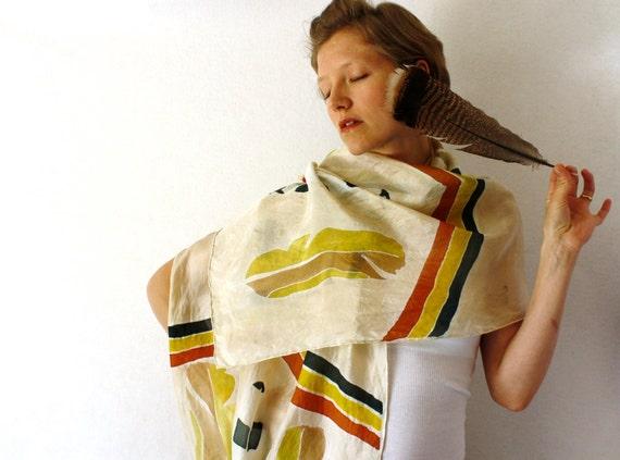 Brown Silk Scarf - Feathers- Chevron Scarf - Hand Painted Silk Scarf - Spring Fashion- Tribal Silk Scarf