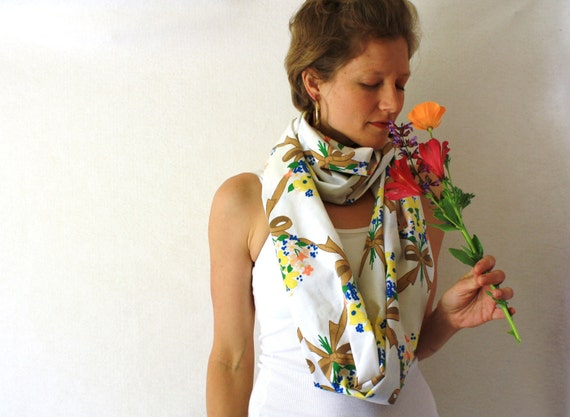 Up-cycled Flowers Circle Scarf - Flower Bouquet - Spring Fashion - White Infinity Scarf - Loop Scarf- Brown Bows