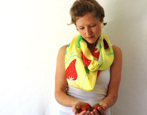 Yellow Silk Scarf - Silk Circle Scarf- Strawberries Scarf - Hand Painted Silk Scarf - Summer Fashion- Silk Eternity Scarf, Loop Scarf