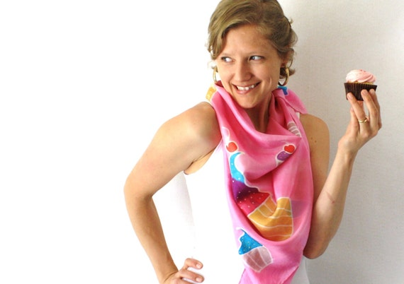 Pink Silk Scarf - Cupcakes- Hand Painted Silk Scarf - Summer Fashion -Rainbow