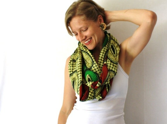 African Circle Scarf - Red Green and Yellow - Rasta Infinity Scarf - Loop Scarf - Eternity Scarf -Tanzania Fabric - Fall Fashion