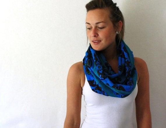 African Circle Scarf - Blue Scarf - African Infinity Scarf - Loop Scarf - Eternity Scarf -Tanzania Fabric