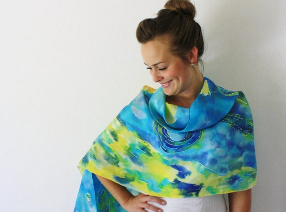 RESERVED for Lisa : Blue Silk Scarf - Starry Night - Hand Painted Silk Scarf - Spring Fashion - Van Gogh