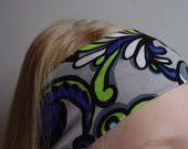 "aBANDin ""Urban Paisley"" in gray, lime, bright blues, black and white stretch headband mothers day gift"