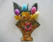 Vintage Crochet Basket of Color, Easter, Spring Floral Designed Basket