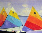 Sail Boats on Ocean Beach Bright Water Color Nautical Painting
