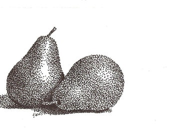Pair of pears - Black and white stippling