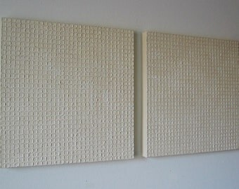 Squares on Squares - Dimensional Canvas Painting Tan Wash Texture Simple Detailed