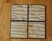 Sheet Music Ceramic Tile Coaster Set
