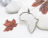HANDCRAFTED Sterling Silver Africa Pendant Rope Chain Necklace