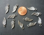 12 pcs Tibetan Antique Silver Angel Wing Charms - 21mm long