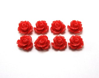 8 pcs Resin Flower Cabochons - 10mm Rose - Red
