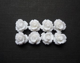 8 pcs Resin Flower Cabochons - 10mm Rose - White