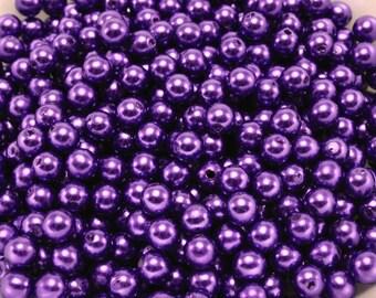 100 pcs Acrylic Pearls - Purple Grape 6mm