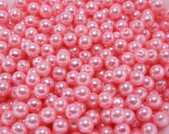100 pcs Acrylic Pearls - Bubblegum Pink 6mm