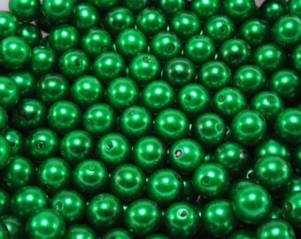 50 pcs Acrylic Pearls - Emerald Green 8mm