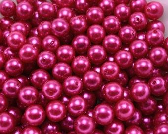 50 pcs Acrylic Pearls - Magenta 8mm