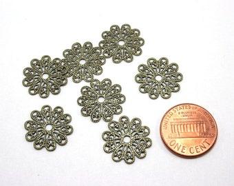 12 pcs Antique Bronze Filigree Base Connectors - Vintage Style Filigree Settings - 17mm