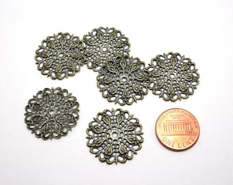 6 pcs Antique Bronze Filigree Base Connectors - Vintage Style Filigree Settings - 25mm