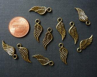 12 pcs Antique Bronze Angel Wing Charms - 21mm long