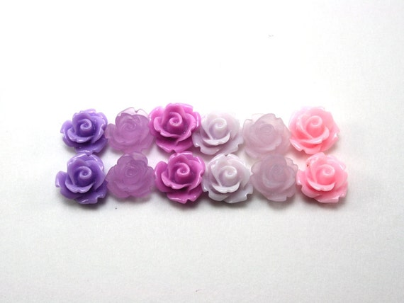12 pcs Resin Flower Cabochons - 10mm Rose - Purple and Pink Mix Assorted Colors