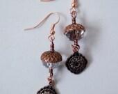 Copper Acorn Bead Cap Earrings