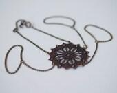 Copper Filigree Hand Flower Bracelet with Antique Brass Chain