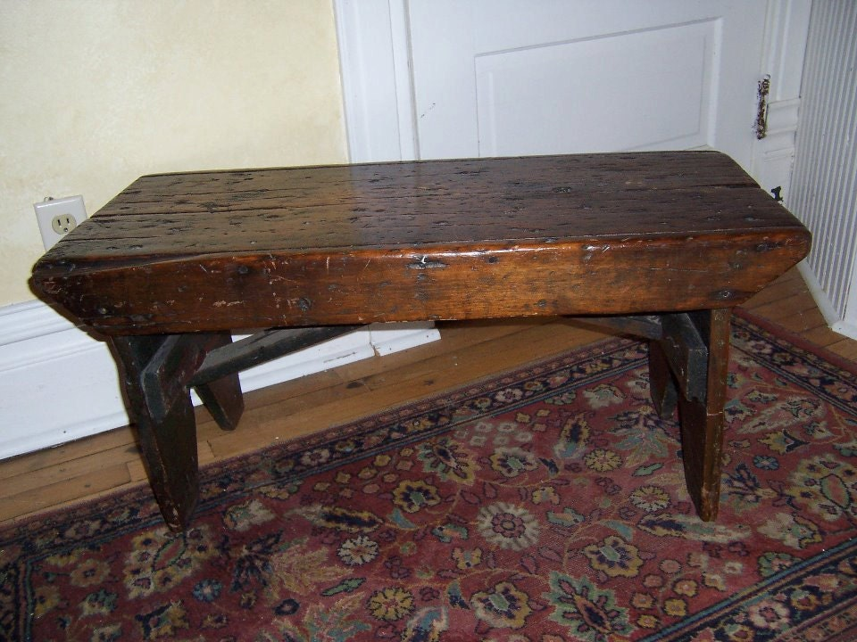 Primitive Wooden Bench Antique Old Home Decor Unique