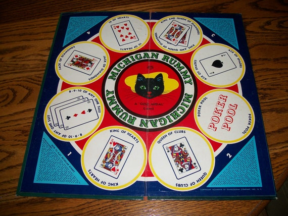 Vintage Michigan Rummy / Lucky Roll Game Board