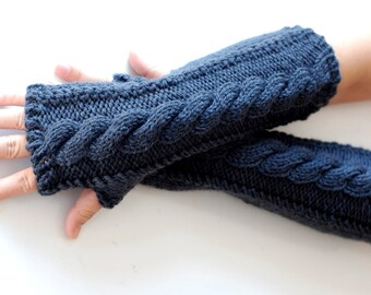 hand knit whole wool long arm wrist warmers fingerless chunky cable mittens warm gift mercury blue grey women men girl boy toddler unisex