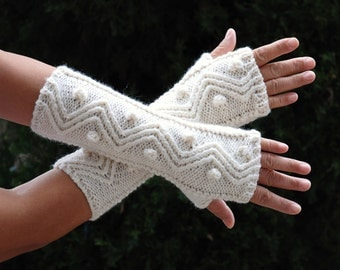 hand knit whole wool long arm wrist warmers fingerless chunky cabled zigzag bubble mittens warm gift white ivory women men girl boy unisex
