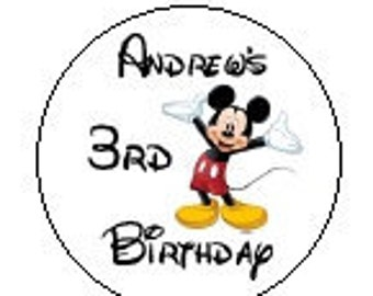 Personalized Mickey Mouse Hershey Kiss Stickers Birthday Party Favors Candy Labels Clubhouse Disney Font Minnie