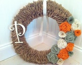 Tan Burlap Wreath with Light Green, Orange, and Cream Burlap Roses and Cream Ribbon and Initial - Summer Wreath