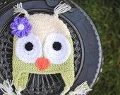 Gender Neutral Owl Beanie, Size Newborn - Toddler