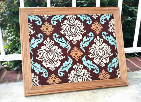 Magnet Board- Magnetic Memo board- Brown, aqua, cream and tan Damask fabric