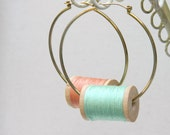 Green Mint Peach Pastel Large Hoops Wooden Spool Earrings with Thread