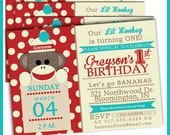 Red and Teal Sock Monkey Birthday Invitations