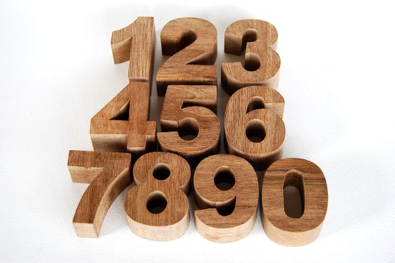 Reserved for Mel -  4 Christmas Wooden Toy Chunky Numbers - Sets