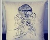 Screenprinted Jellyfish Cushion Nautical handmade tattoo alternative Wedding