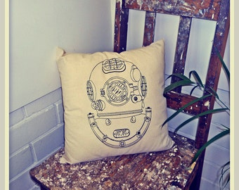 Screenprinted Diver's Helmet Cushion Nautical handmade tattoo alternative Wedding steampunk Blacklight