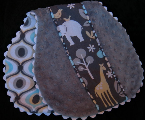 Minky Baby Burp Cloth - 100% Cotton Fabric - Michael Miller Zoology with Soft Gray Minky Dot